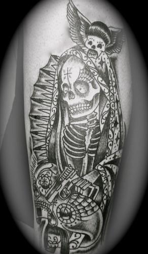tattoos de la santa muerte originales im genes de la santa muerte. Black Bedroom Furniture Sets. Home Design Ideas